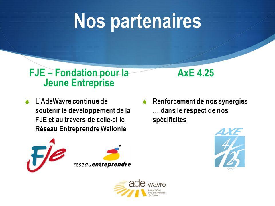 Nos partenaires FJE – Fondation pour la Jeune Entreprise LAdeWavre continue de soutenir le développement de la FJE et au travers de celle-ci le Réseau