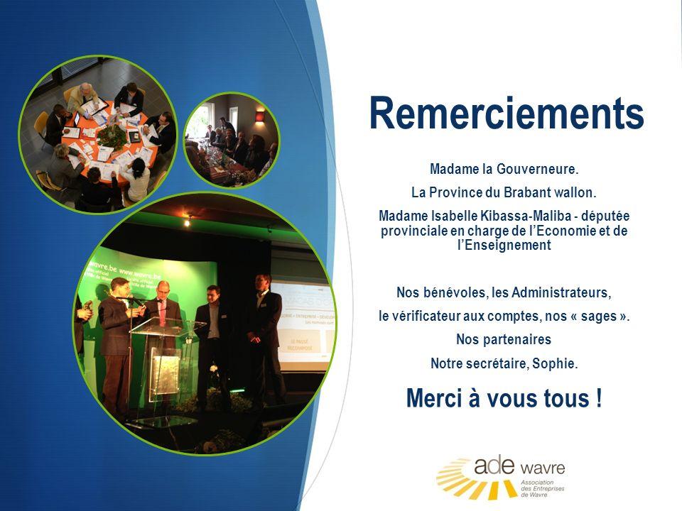Remerciements Madame la Gouverneure. La Province du Brabant wallon.