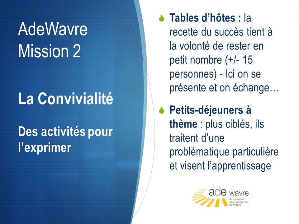 AdeWavre Mission 2 Visites dentreprises – réunions de membres : un membre vous ouvre ses portes .