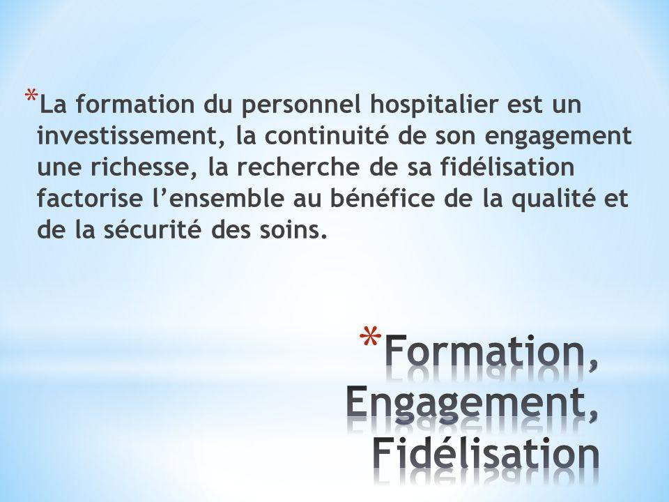 * La formation du personnel hospitalier est un investissement, la continuité de son engagement une richesse, la recherche de sa fidélisation factorise