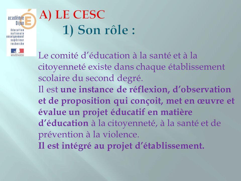 Le CESC est composé de membres de droit, de membres désignés et de membre associés.