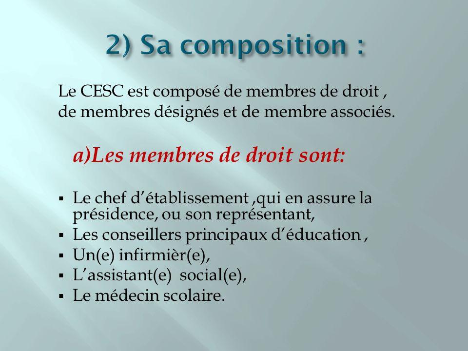 Le CESC est composé de membres de droit, de membres désignés et de membre associés. a)Les membres de droit sont: Le chef détablissement,qui en assure