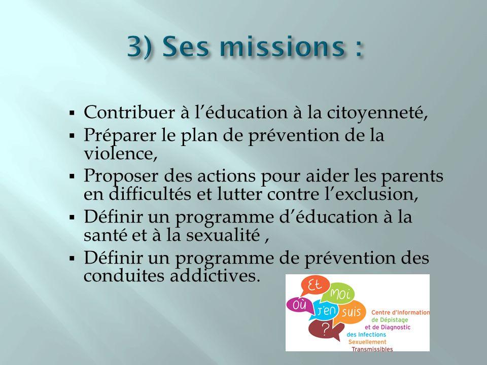 Contribuer à léducation à la citoyenneté, Préparer le plan de prévention de la violence, Proposer des actions pour aider les parents en difficultés et