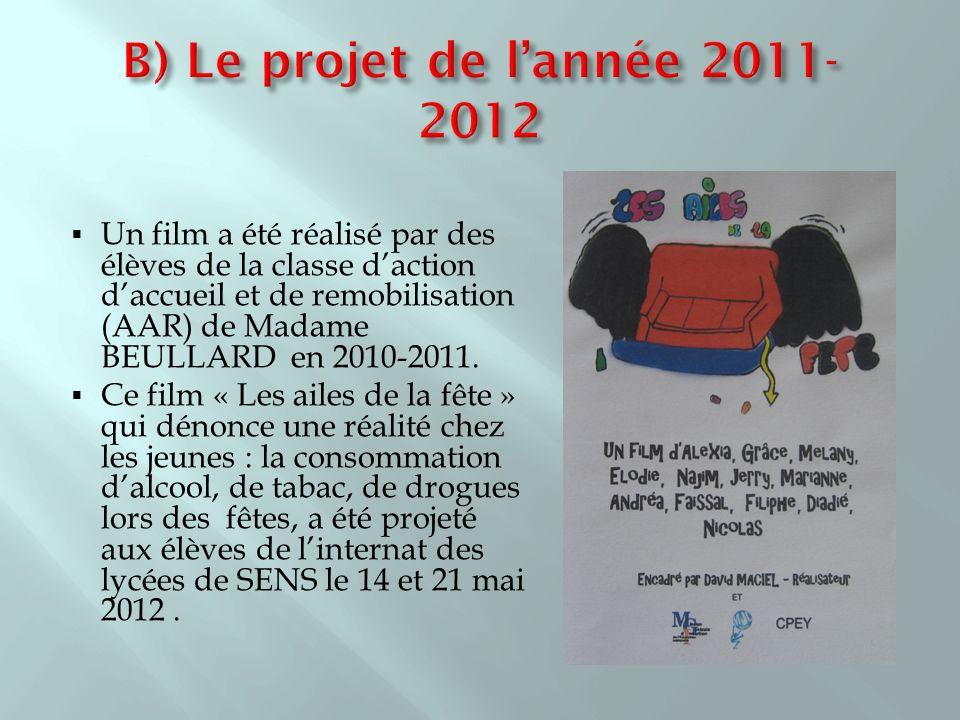 Un film a été réalisé par des élèves de la classe daction daccueil et de remobilisation (AAR) de Madame BEULLARD en 2010-2011. Ce film « Les ailes de
