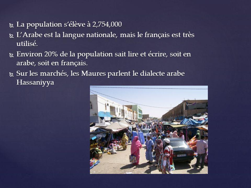 La population sélève à 2,754,000 La population sélève à 2,754,000 LArabe est la langue nationale, mais le français est très utilisé. LArabe est la lan