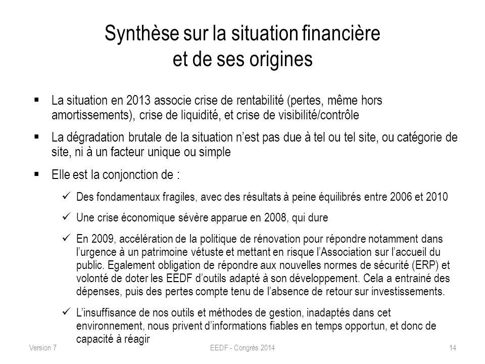 Synthèse sur la situation financière et de ses origines La situation en 2013 associe crise de rentabilité (pertes, même hors amortissements), crise de