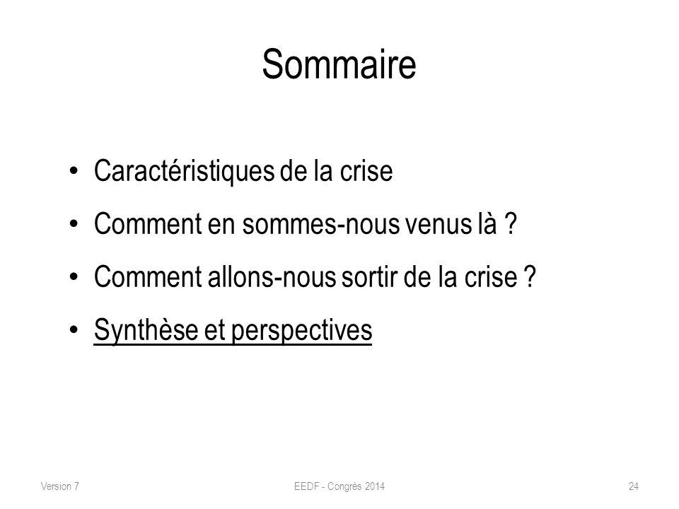 Sommaire Caractéristiques de la crise Comment en sommes-nous venus là ? Comment allons-nous sortir de la crise ? Synthèse et perspectives EEDF - Congr
