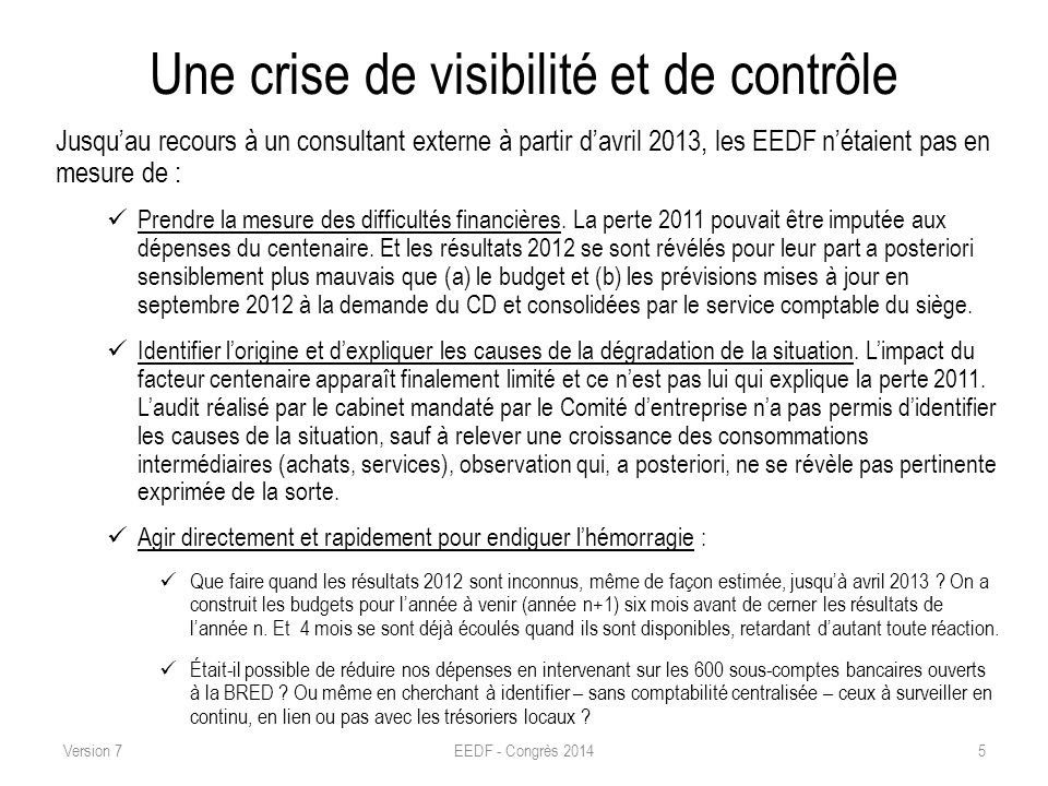 Une crise de visibilité et de contrôle Jusquau recours à un consultant externe à partir davril 2013, les EEDF nétaient pas en mesure de : Prendre la m