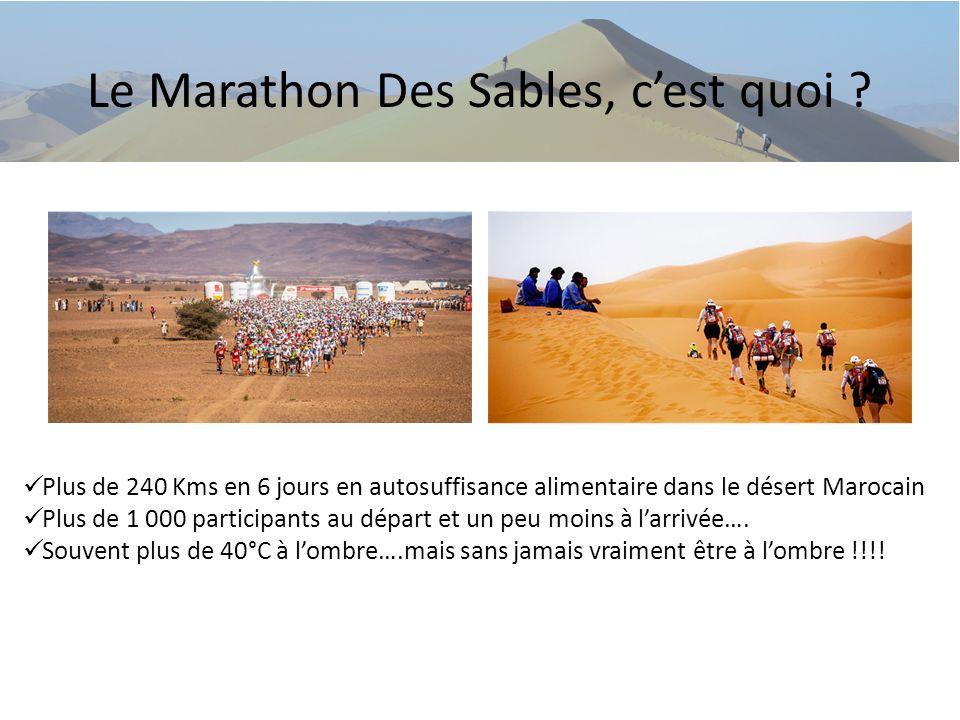 Le Marathon Des Sables, cest quoi ? Plus de 240 Kms en 6 jours en autosuffisance alimentaire dans le désert Marocain Plus de 1 000 participants au dép