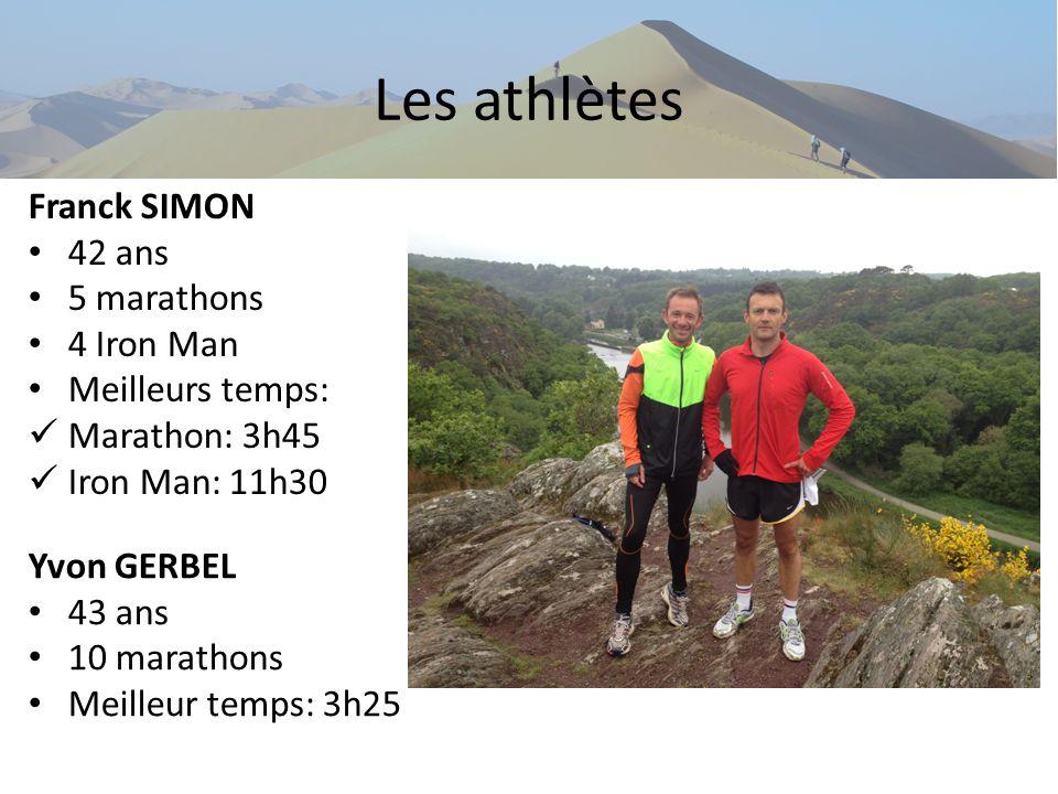 Les athlètes Franck SIMON 42 ans 5 marathons 4 Iron Man Meilleurs temps: Marathon: 3h45 Iron Man: 11h30 Yvon GERBEL 43 ans 10 marathons Meilleur temps