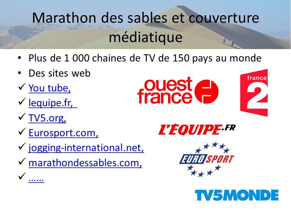 Marathon des sables et couverture médiatique Plus de 1 000 chaines de TV de 150 pays au monde Des sites web You tube, lequipe.fr, TV5.org, Eurosport.c