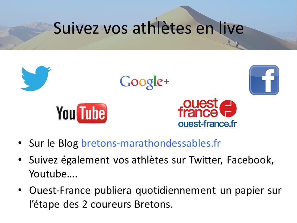 Suivez vos athlètes en live Sur le Blog bretons-marathondessables.fr Suivez également vos athlètes sur Twitter, Facebook, Youtube…. Ouest-France publi
