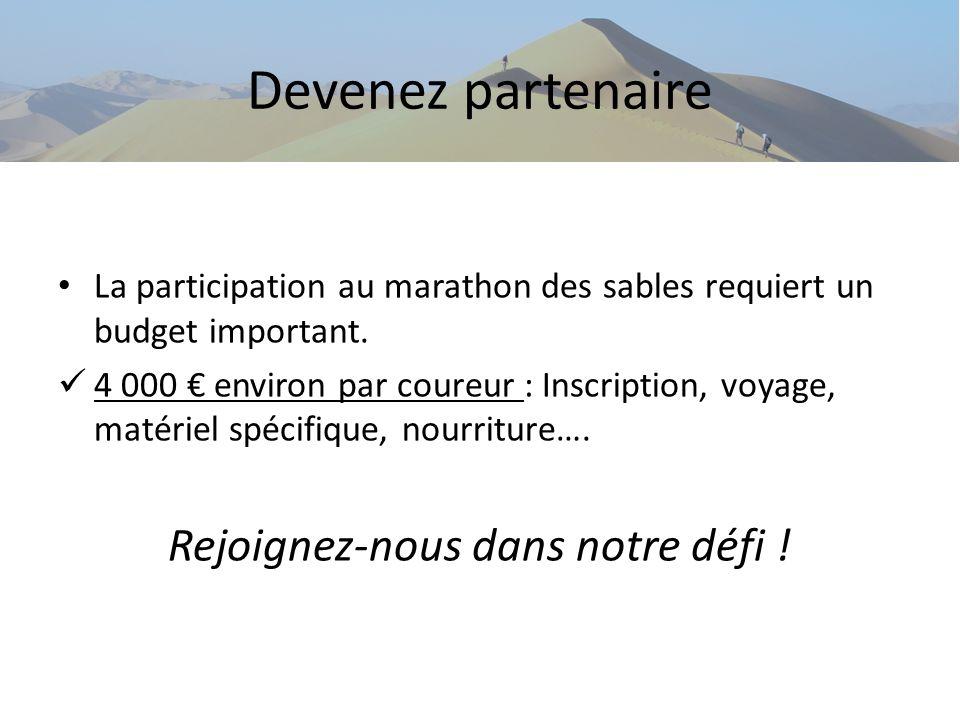 Devenez partenaire La participation au marathon des sables requiert un budget important. 4 000 environ par coureur : Inscription, voyage, matériel spé