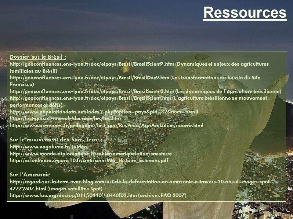 Dossier sur le Brésil : http://geoconfluences.ens-lyon.fr/doc/etpays/Bresil/BresilScient7.htm (Dynamiques et enjeux des agricultures familiales au Bré