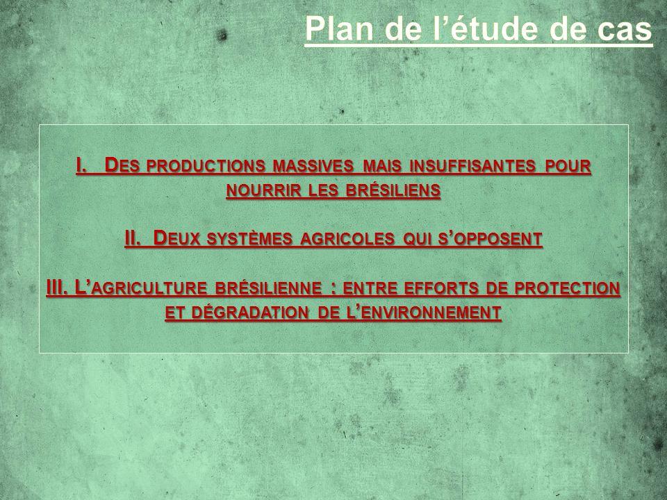 I. D ES PRODUCTIONS MASSIVES MAIS INSUFFISANTES POUR NOURRIR LES BRÉSILIENS II. D EUX SYSTÈMES AGRICOLES QUI S OPPOSENT III. L AGRICULTURE BRÉSILIENNE
