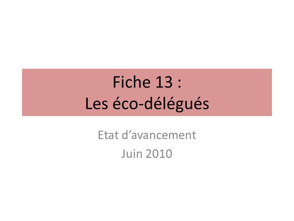 Fiche 13 : Les éco-délégués Etat davancement Juin 2010