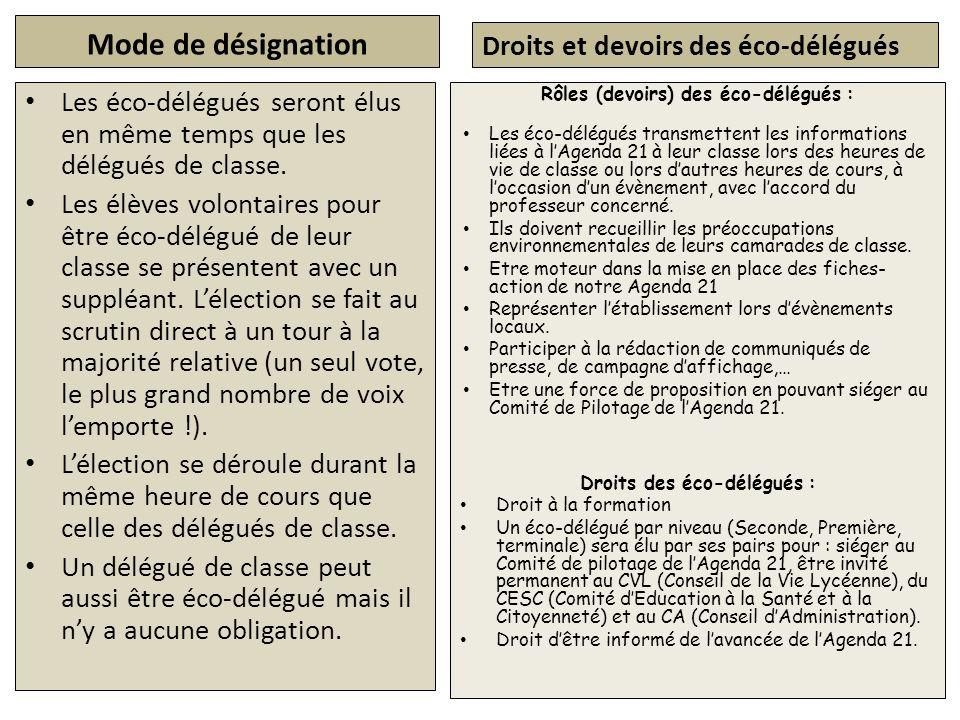 Mode de désignation Les éco-délégués seront élus en même temps que les délégués de classe. Les élèves volontaires pour être éco-délégué de leur classe
