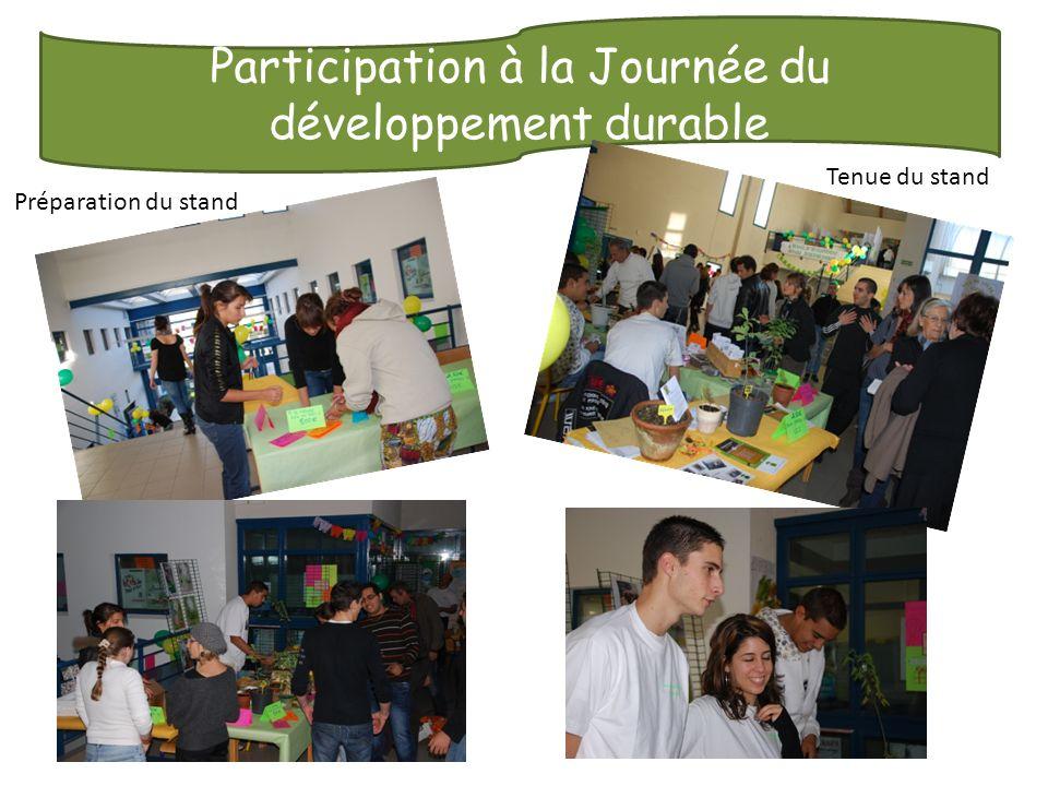 Participation à la Journée du développement durable Préparation du stand Tenue du stand