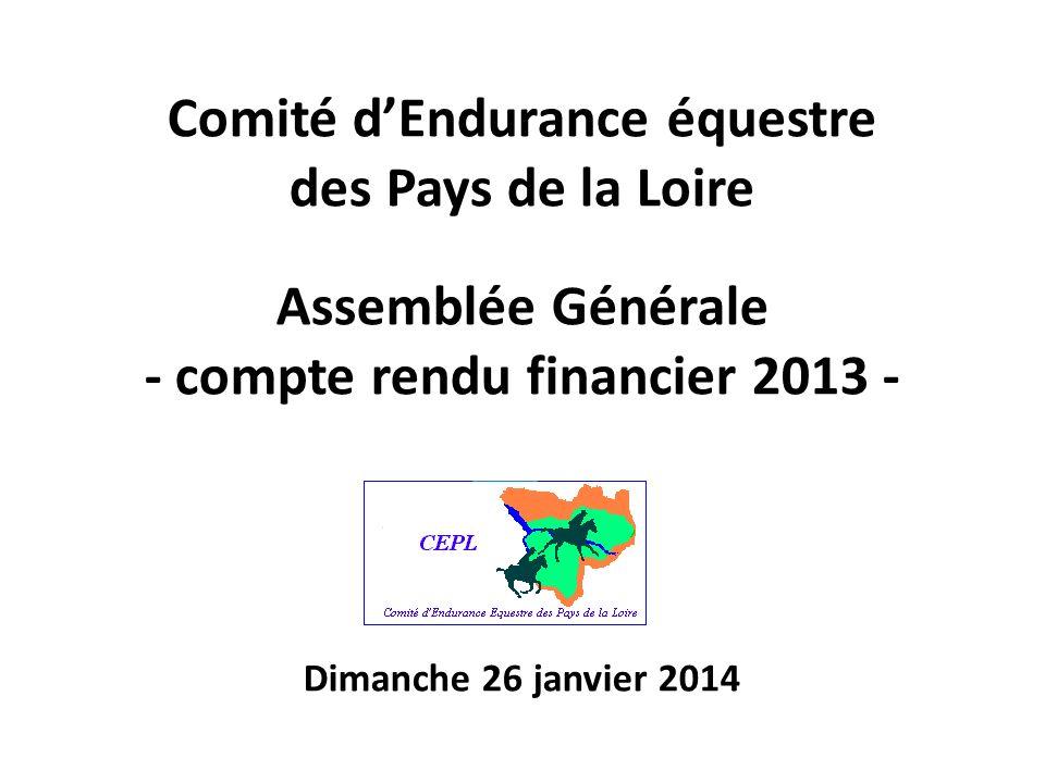 Comité dEndurance équestre des Pays de la Loire xx Assemblée Générale - compte rendu financier 2013 - Dimanche 26 janvier 2014