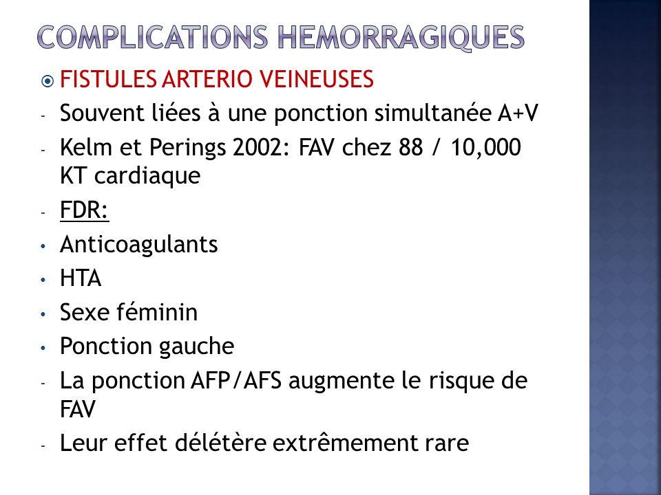 FISTULES ARTERIO VEINEUSES - Souvent liées à une ponction simultanée A+V - Kelm et Perings 2002: FAV chez 88 / 10,000 KT cardiaque - FDR: Anticoagulan