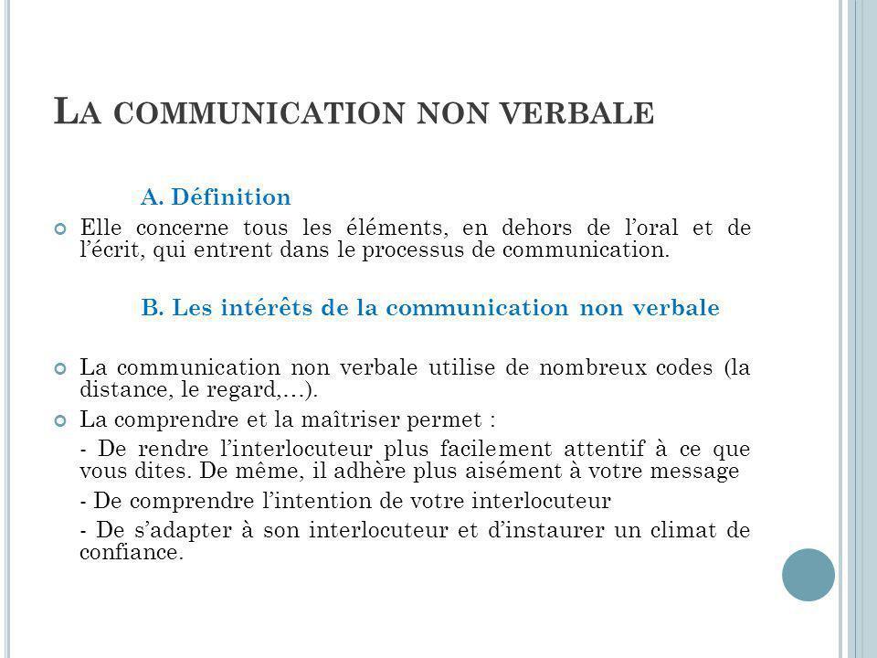 L A COMMUNICATION NON VERBALE A.