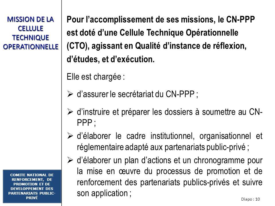 Diapo : 9 COMITE NATIONAL DE RENFORCEMENT, DE PROMOTION ET DE DEVELOPPEMENT DES PARTENARIATS PUBLIC- PRIVÉ MISSIONS DU COMITE DE PILOTAGE Le Comité de