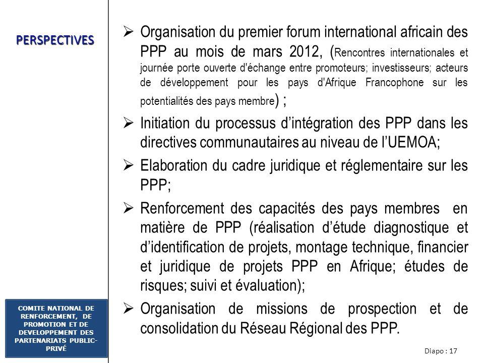 Diapo : 16 COMITE NATIONAL DE RENFORCEMENT, DE PROMOTION ET DE DEVELOPPEMENT DES PARTENARIATS PUBLIC- PRIVÉ Mise en place dun Comité National en charg