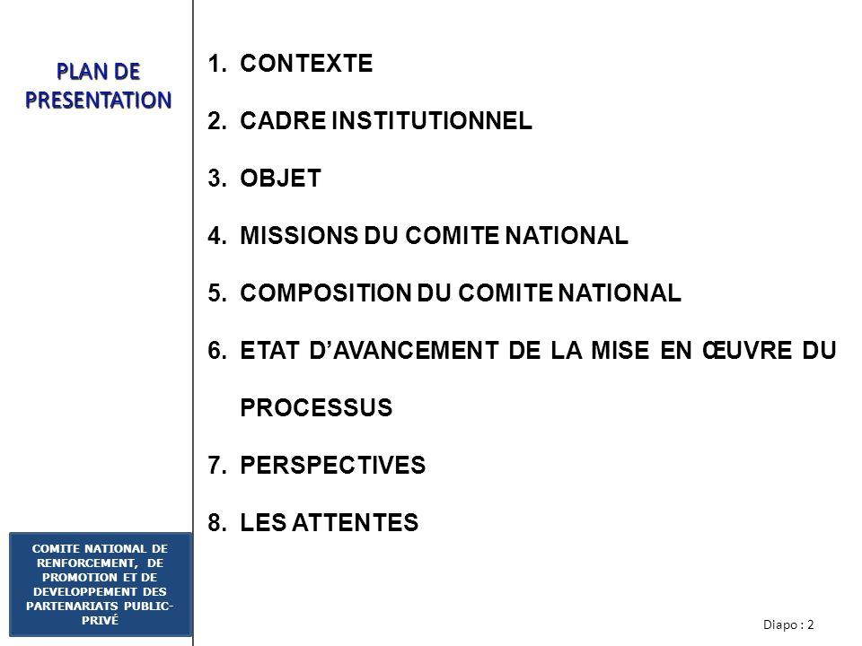 Diapo : 2 COMITE NATIONAL DE RENFORCEMENT, DE PROMOTION ET DE DEVELOPPEMENT DES PARTENARIATS PUBLIC- PRIVÉ PLAN DE PRESENTATION 1.CONTEXTE 2.CADRE INSTITUTIONNEL 3.OBJET 4.MISSIONS DU COMITE NATIONAL 5.COMPOSITION DU COMITE NATIONAL 6.ETAT DAVANCEMENT DE LA MISE EN ŒUVRE DU PROCESSUS 7.PERSPECTIVES 8.LES ATTENTES