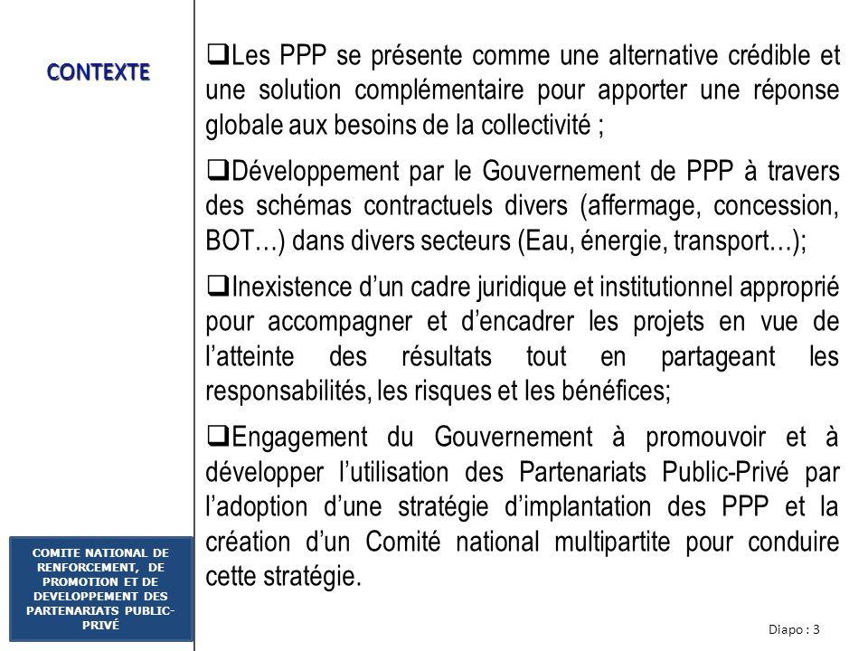 Diapo : 2 COMITE NATIONAL DE RENFORCEMENT, DE PROMOTION ET DE DEVELOPPEMENT DES PARTENARIATS PUBLIC- PRIVÉ PLAN DE PRESENTATION 1.CONTEXTE 2.CADRE INS