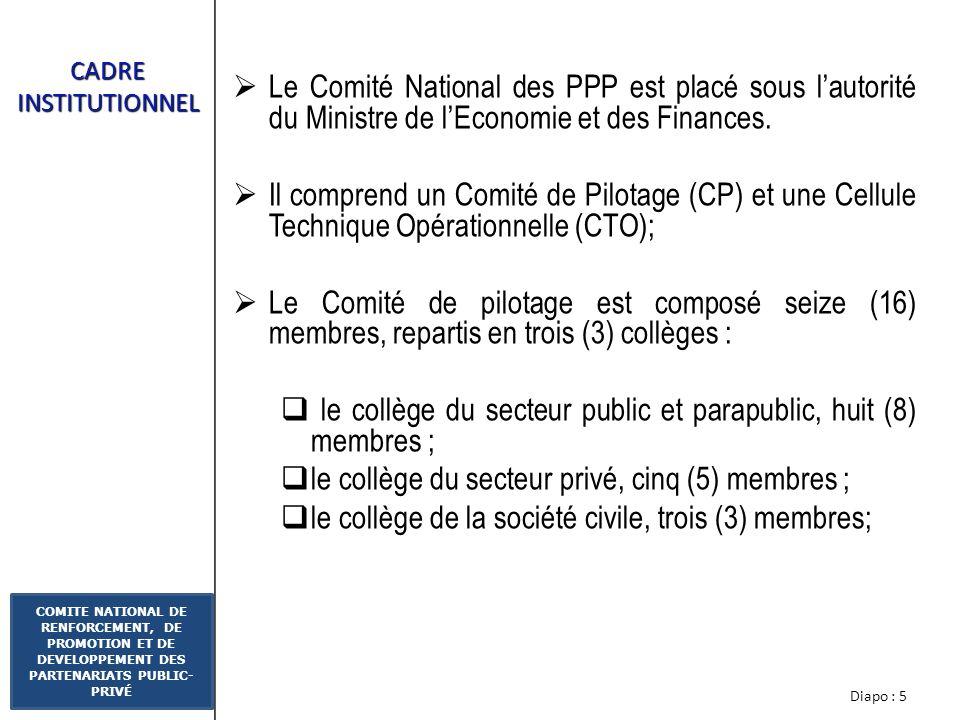 Diapo : 15 COMITE NATIONAL DE RENFORCEMENT, DE PROMOTION ET DE DEVELOPPEMENT DES PARTENARIATS PUBLIC- PRIVÉ ETAT DAVANCEMENT DE LA MISE EN ŒUVRE DU PROCESSUS 16 au 18 février 2010 à Abidjan : Organisation du forum international sur les PPP avec pour thème : « Le Partenariat Public-Privé, un outil daccélération du développement des infrastructures »; la création dune plate forme régionale des pays dAfrique francophone des PPP (RAF-PPP) dont la Présidence a été confiée à la Côte dIvoire; réunions du Réseau Afrique francophone des PPP, par vidéoconférence, de la formalisation du réseau régionale des PPP avec les pays Membres à savoir le Benin; le Burkina Faso; le Cameroun; le Congo Brazzaville; Madagascar.