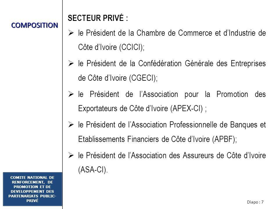 Diapo : 7 COMITE NATIONAL DE RENFORCEMENT, DE PROMOTION ET DE DEVELOPPEMENT DES PARTENARIATS PUBLIC- PRIVÉ COMPOSITION SECTEUR PRIVÉ : le Président de la Chambre de Commerce et dIndustrie de Côte dIvoire (CCICI); le Président de la Confédération Générale des Entreprises de Côte dIvoire (CGECI); le Président de lAssociation pour la Promotion des Exportateurs de Côte dIvoire (APEX-CI) ; le Président de lAssociation Professionnelle de Banques et Etablissements Financiers de Côte dIvoire (APBF); le Président de lAssociation des Assureurs de Côte dIvoire (ASA-CI).