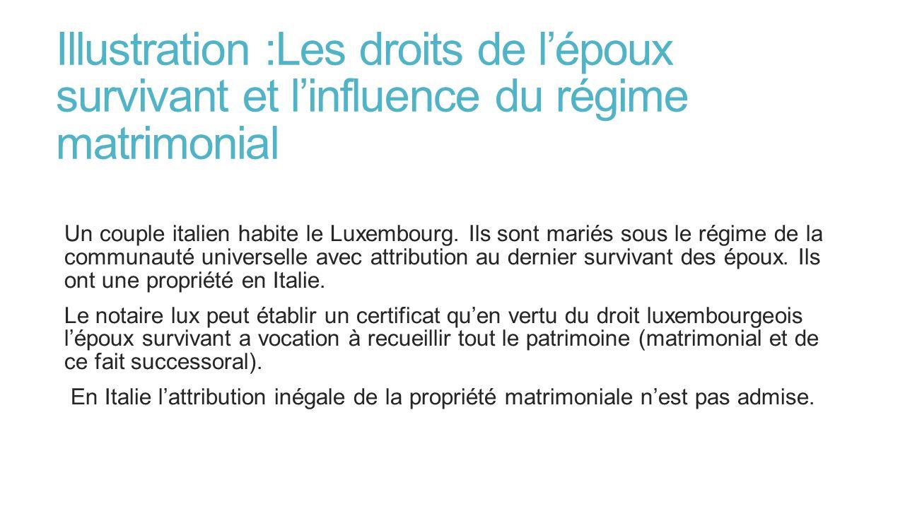 Illustration :Les droits de lépoux survivant et linfluence du régime matrimonial Un couple italien habite le Luxembourg. Ils sont mariés sous le régim