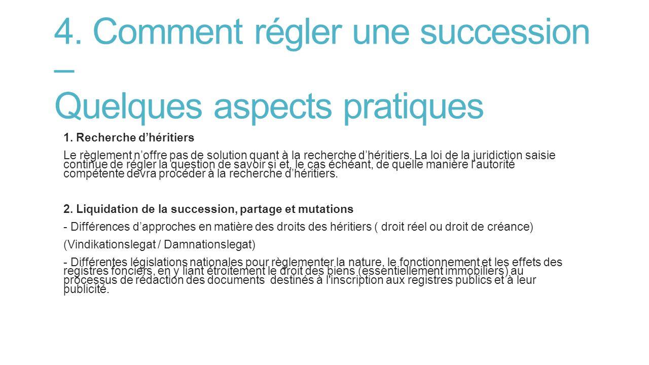 4.Comment régler une succession – Quelques aspects pratiques 1.