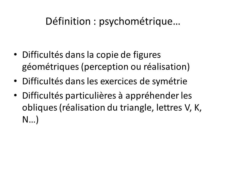 Définition : psychométrique… Difficultés dans la copie de figures géométriques (perception ou réalisation) Difficultés dans les exercices de symétrie Difficultés particulières à appréhender les obliques (réalisation du triangle, lettres V, K, N…)