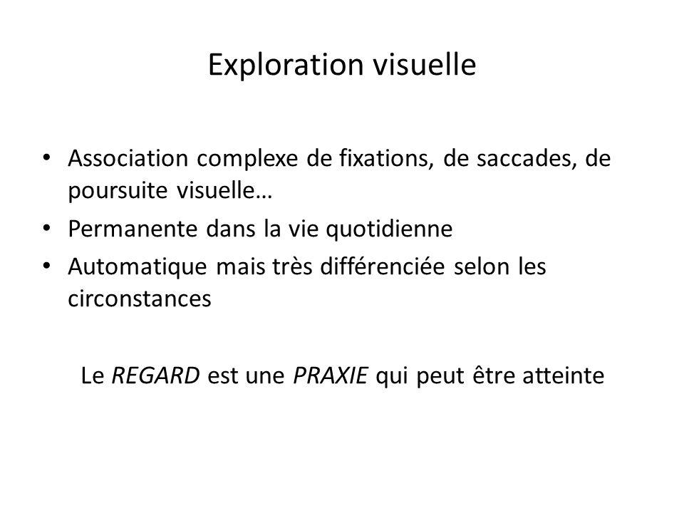 Exploration visuelle Association complexe de fixations, de saccades, de poursuite visuelle… Permanente dans la vie quotidienne Automatique mais très différenciée selon les circonstances Le REGARD est une PRAXIE qui peut être atteinte
