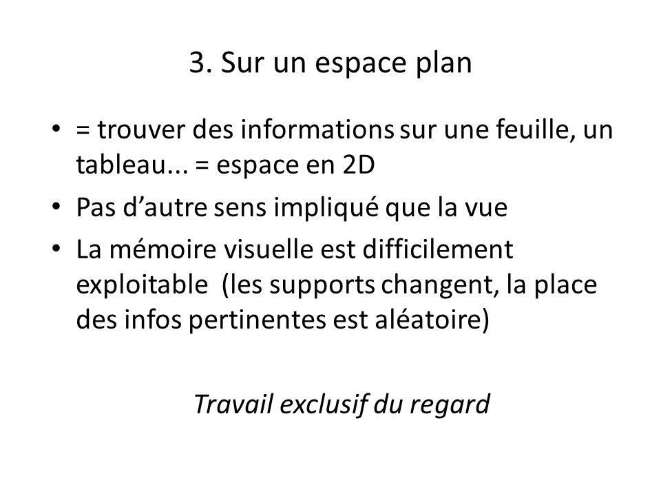 3.Sur un espace plan = trouver des informations sur une feuille, un tableau...