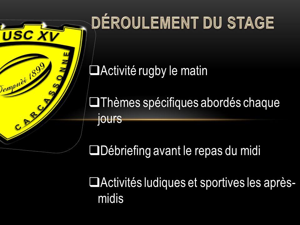 Activité rugby le matin Thèmes spécifiques abordés chaque jours Débriefing avant le repas du midi Activités ludiques et sportives les après- midis