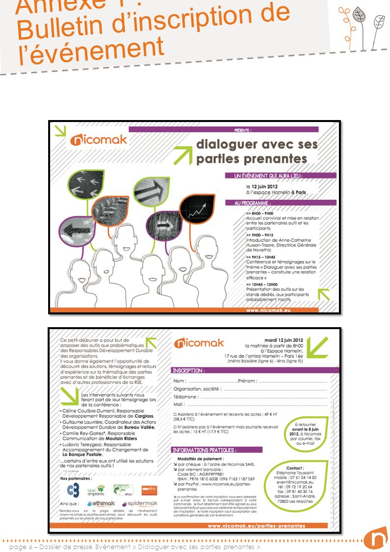 Annexe 1 : Bulletin dinscription de lévénement page 6 – Dossier de presse Evénement « Dialoguer avec ses parties prenantes »