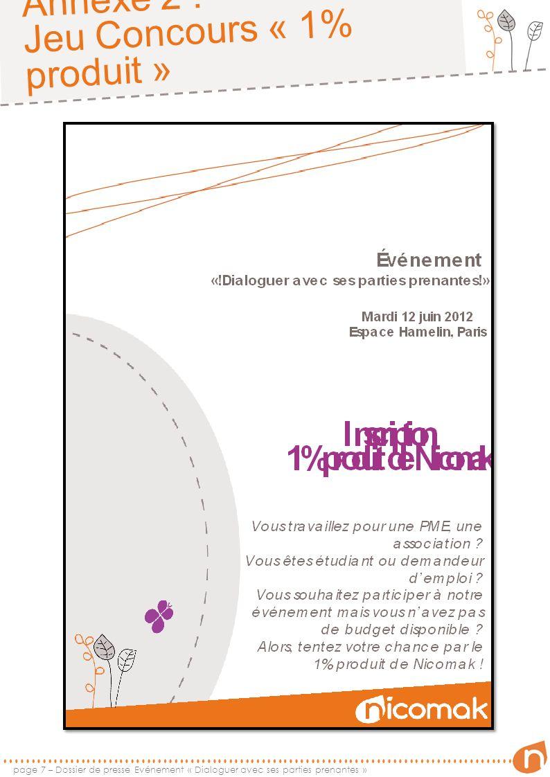 Annexe 2 : Jeu Concours « 1% produit » page 8 – Dossier de presse Evénement « Dialoguer avec ses parties prenantes »