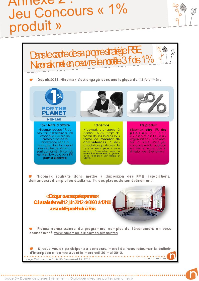 Annexe 2 : Jeu Concours « 1% produit » page 9 – Dossier de presse Evénement « Dialoguer avec ses parties prenantes »