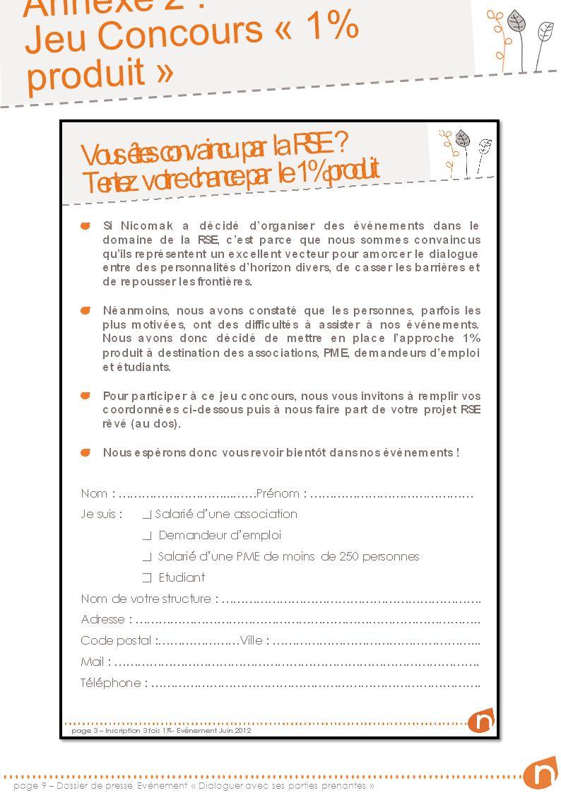 Annexe 2 : Jeu Concours « 1% produit » page 10 – Dossier de presse Evénement « Dialoguer avec ses parties prenantes »