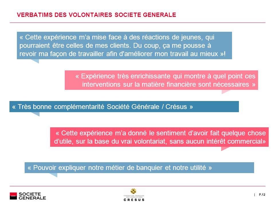 | VERBATIMS DES VOLONTAIRES SOCIETE GENERALE P.12 « Cette expérience ma mise face à des réactions de jeunes, qui pourraient être celles de mes clients