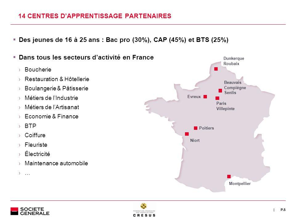 | 14 CENTRES DAPPRENTISSAGE PARTENAIRES P.5 Des jeunes de 16 à 25 ans : Bac pro (30%), CAP (45%) et BTS (25%) Dans tous les secteurs dactivité en Fran