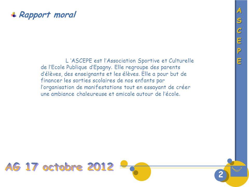 2 Rapport moral L ASCEPE est lAssociation Sportive et Culturelle de lEcole Publique dEpagny.