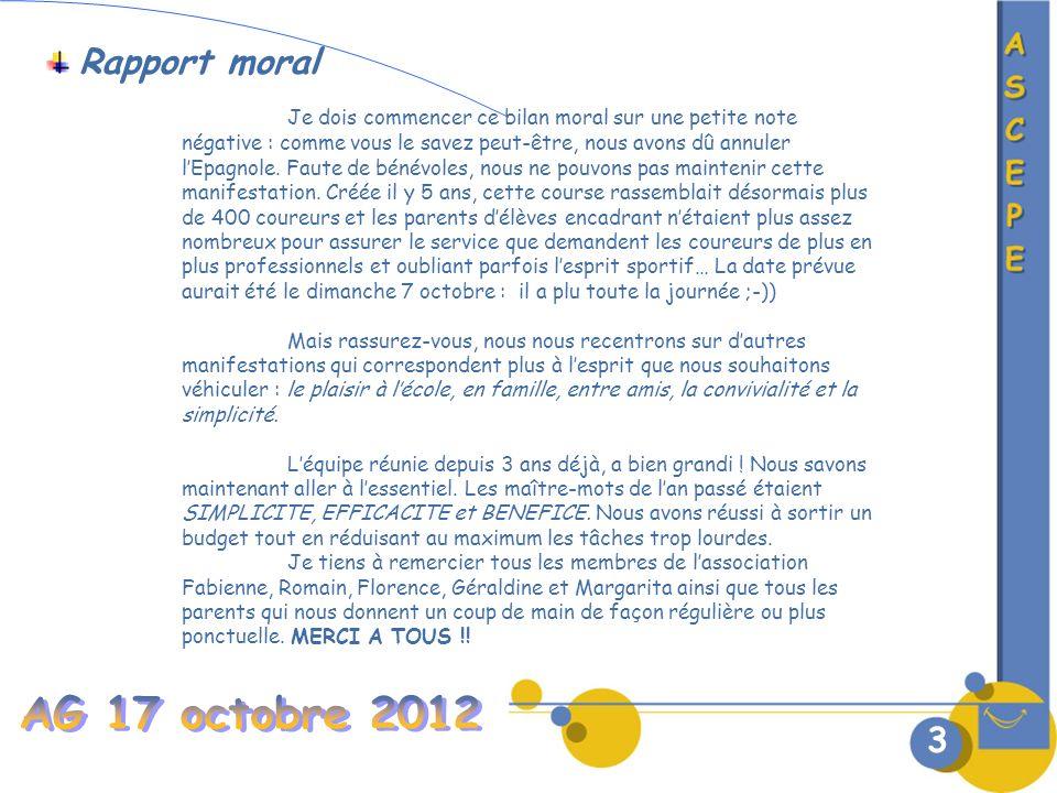 3 Rapport moral Je dois commencer ce bilan moral sur une petite note négative : comme vous le savez peut-être, nous avons dû annuler lEpagnole.
