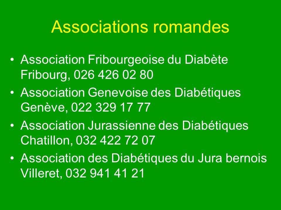Associations romandes Association Fribourgeoise du Diabète Fribourg, 026 426 02 80 Association Genevoise des Diabétiques Genève, 022 329 17 77 Association Jurassienne des Diabétiques Chatillon, 032 422 72 07 Association des Diabétiques du Jura bernois Villeret, 032 941 41 21