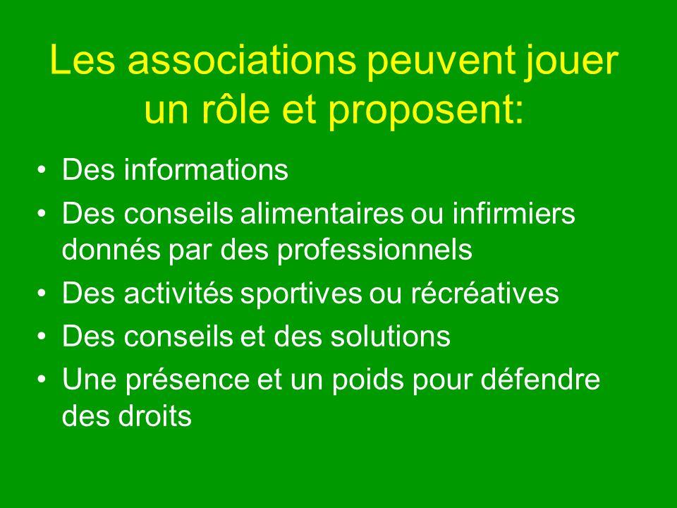 Les associations peuvent jouer un rôle et proposent: Des informations Des conseils alimentaires ou infirmiers donnés par des professionnels Des activités sportives ou récréatives Des conseils et des solutions Une présence et un poids pour défendre des droits