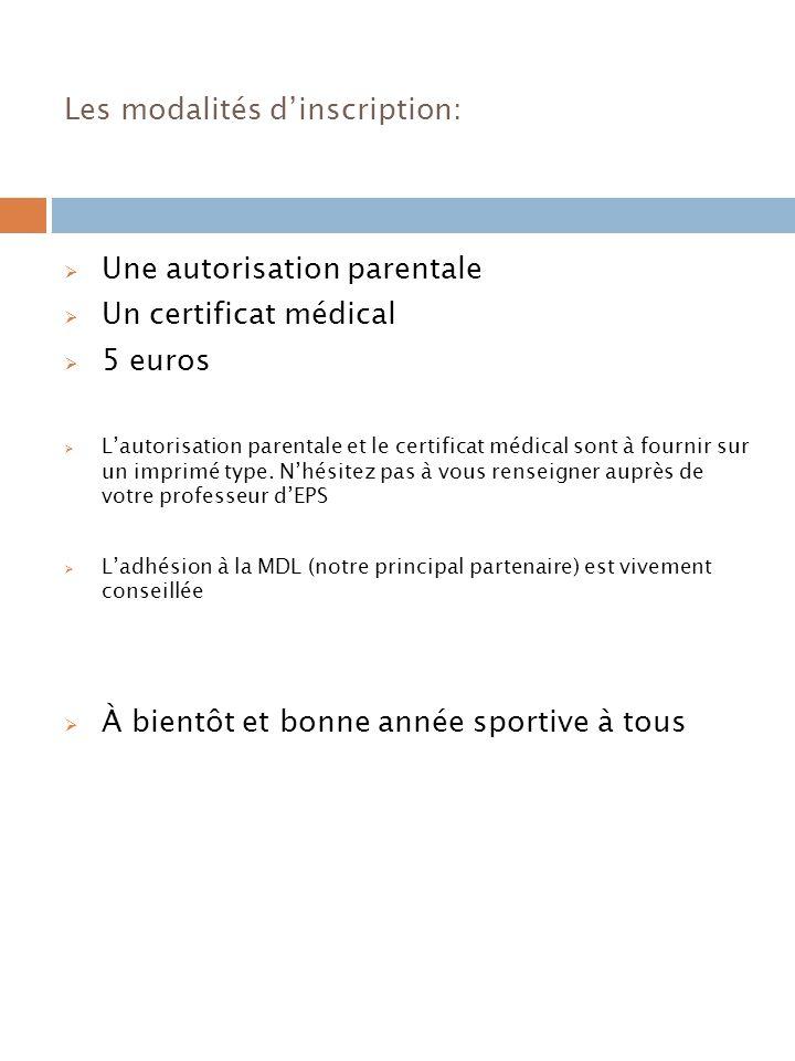 Les modalités dinscription: Une autorisation parentale Un certificat médical 5 euros Lautorisation parentale et le certificat médical sont à fournir sur un imprimé type.