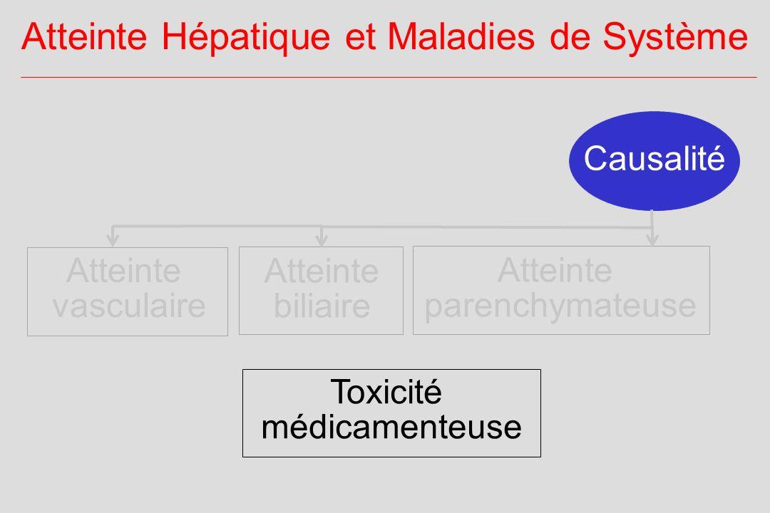 Causalité Atteinte Hépatique et Maladies de Système Atteinte vasculaire Atteinte parenchymateuse Atteinte biliaire Toxicité médicamenteuse