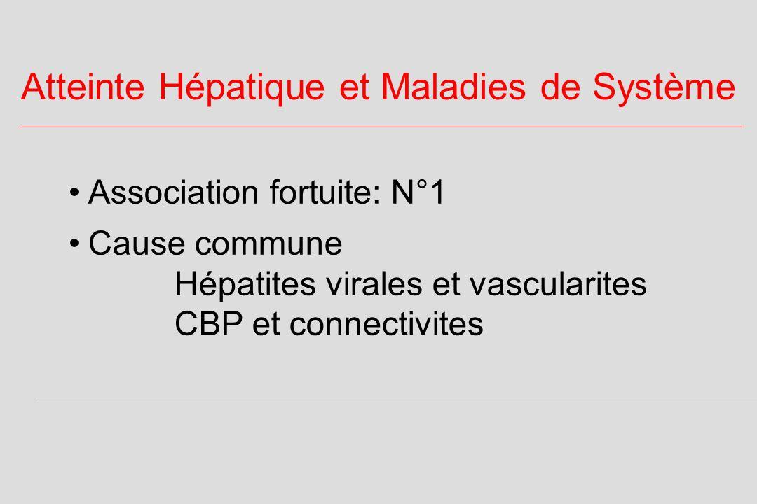 Atteinte Hépatique et Maladies de Système Association fortuite: N°1 Cause commune Hépatites virales et vascularites CBP et connectivites